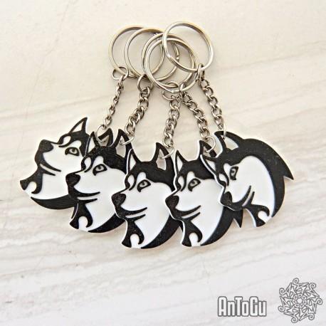 Přívěšek na klíče - Hlava Husky