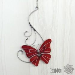 Motýlek s ornamenty- červený