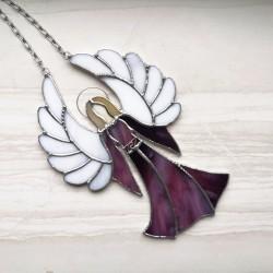 Anděl strážný - vitráž Fialová