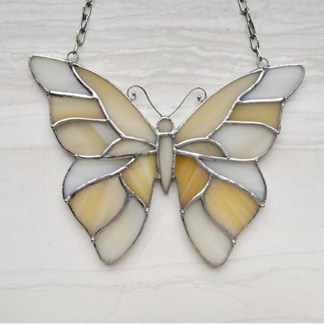 Vitráž- motýl - fialovo-béžový